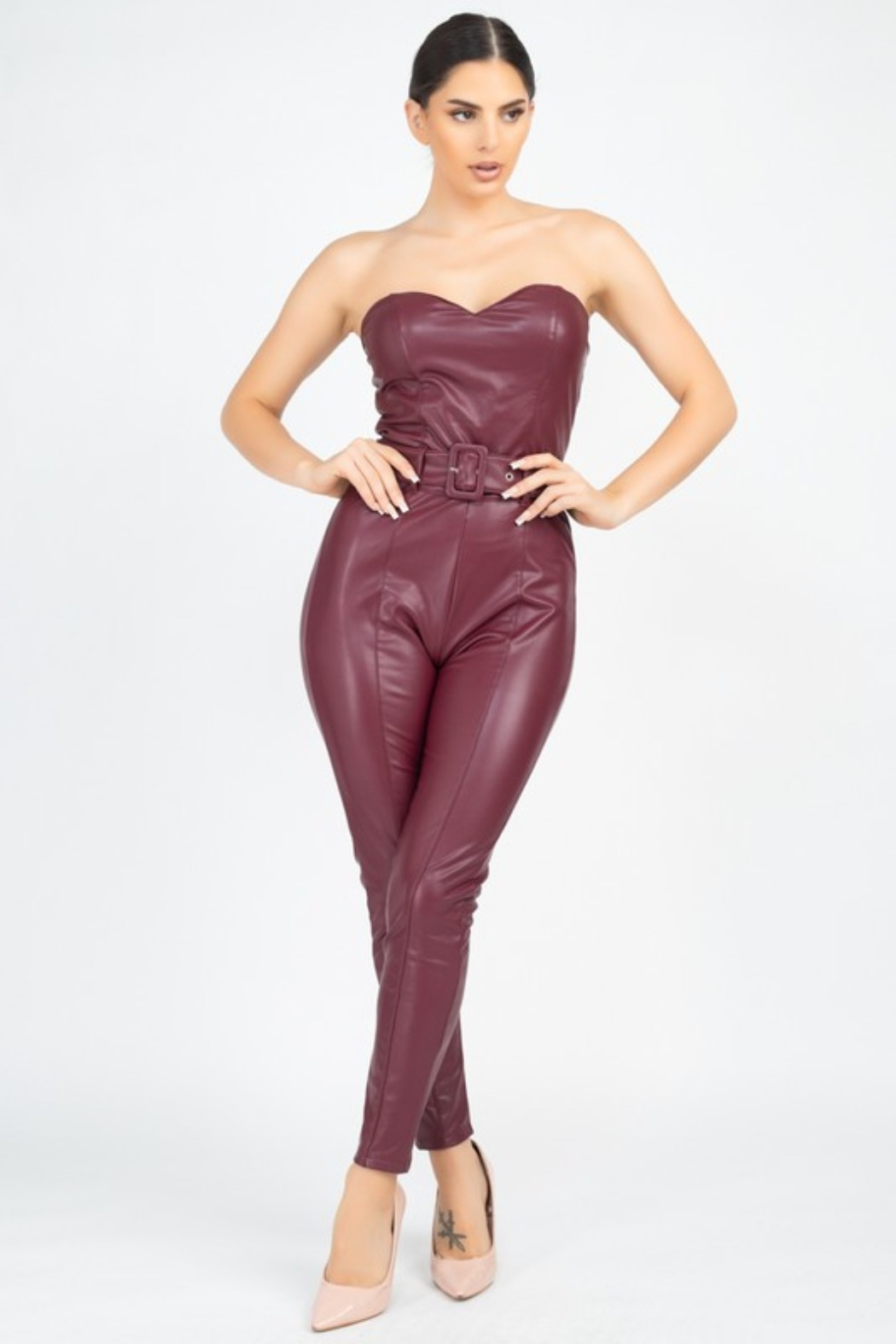 Haute Monde Sheeny Strapless Bodysuit - Front Cropped Image