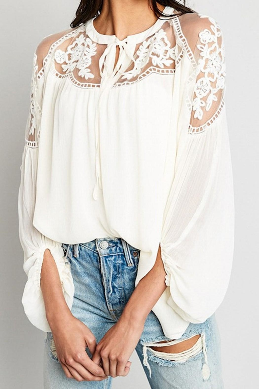 Hayden Los Angeles Sheer-And-Lace Peasant Blouse - Main Image
