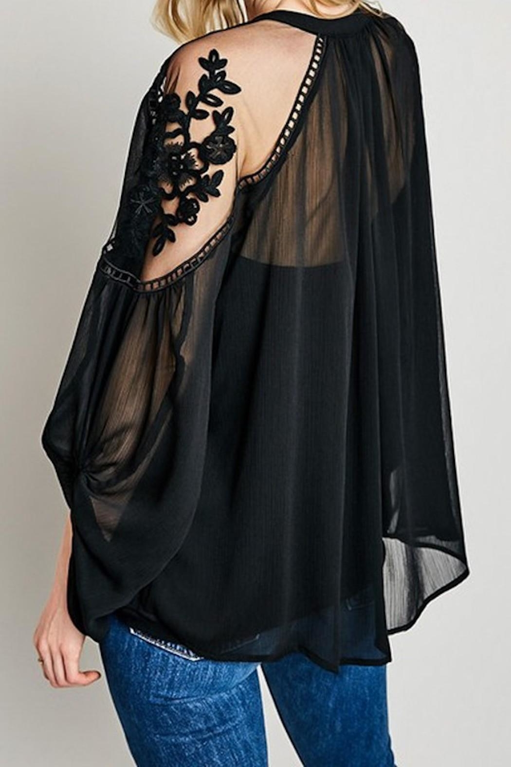 Hayden Los Angeles Sheer-And-Lace Peasant Blouse - Front Full Image