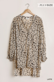 umgee  Sheer Animal Print Tunic - Product Mini Image