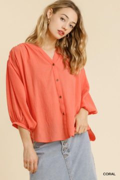 umgee  SHEER BALLON SLV BUTTON DOWN SHIRT - Product List Image