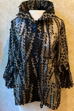 Damee Sheer black Jacket with gold design. - Product List Image