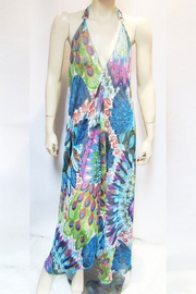 Indian Tropical SHEER BLUE PEACOCK HALTER DRESS - Product Mini Image