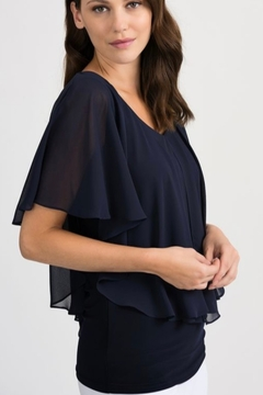 Joseph Ribkoff Sheer cap sleeve overlay with fitted solid tank - Alternate List Image