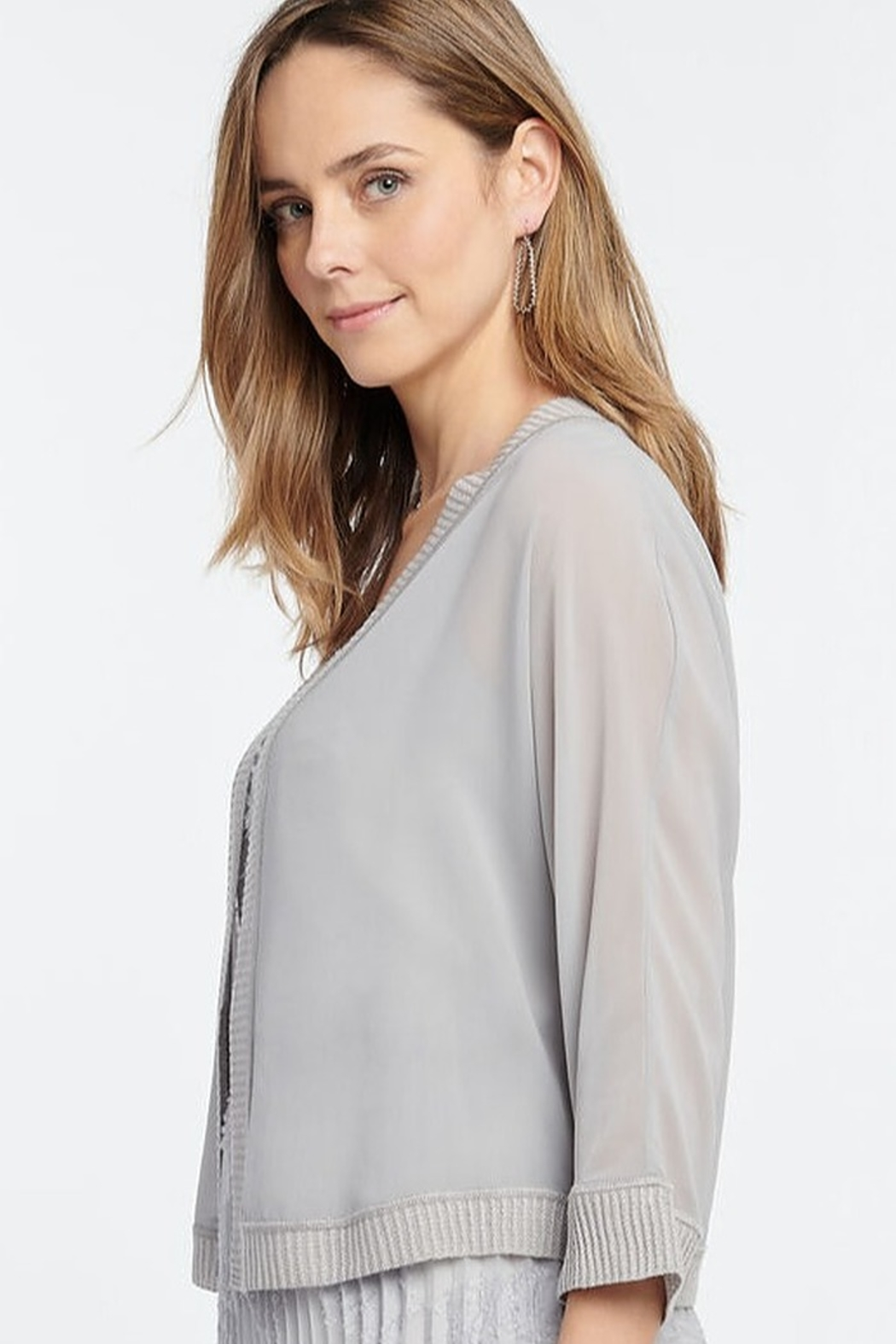Nic + Zoe Sheer cardigan, pale smoke, open front, 3/4 sleeves - Side Cropped Image