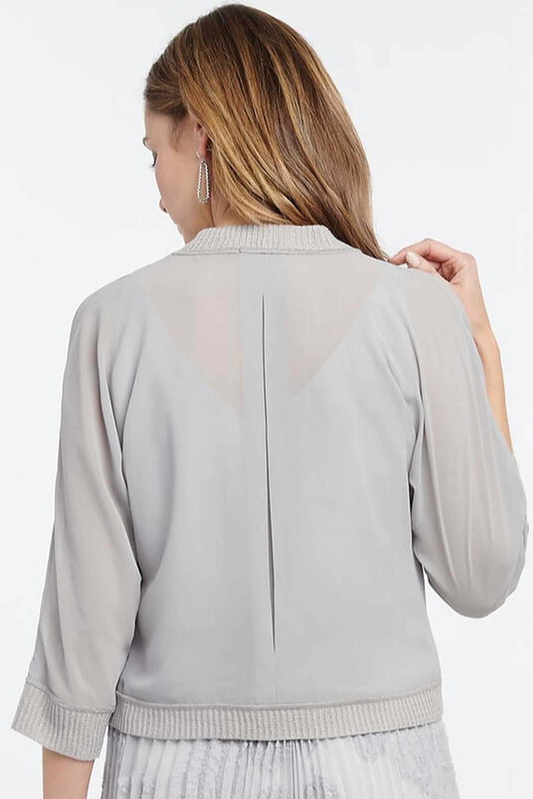 Nic + Zoe Sheer cardigan, pale smoke, open front, 3/4 sleeves - Front Full Image