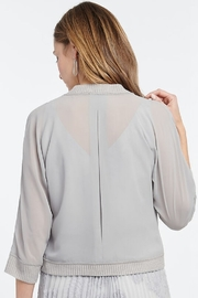 Nic + Zoe Sheer cardigan, pale smoke, open front, 3/4 sleeves - Front full body