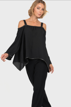 Joseph Ribkoff Sheer Cold-shoulder top with Sparkle Trim - Product List Image