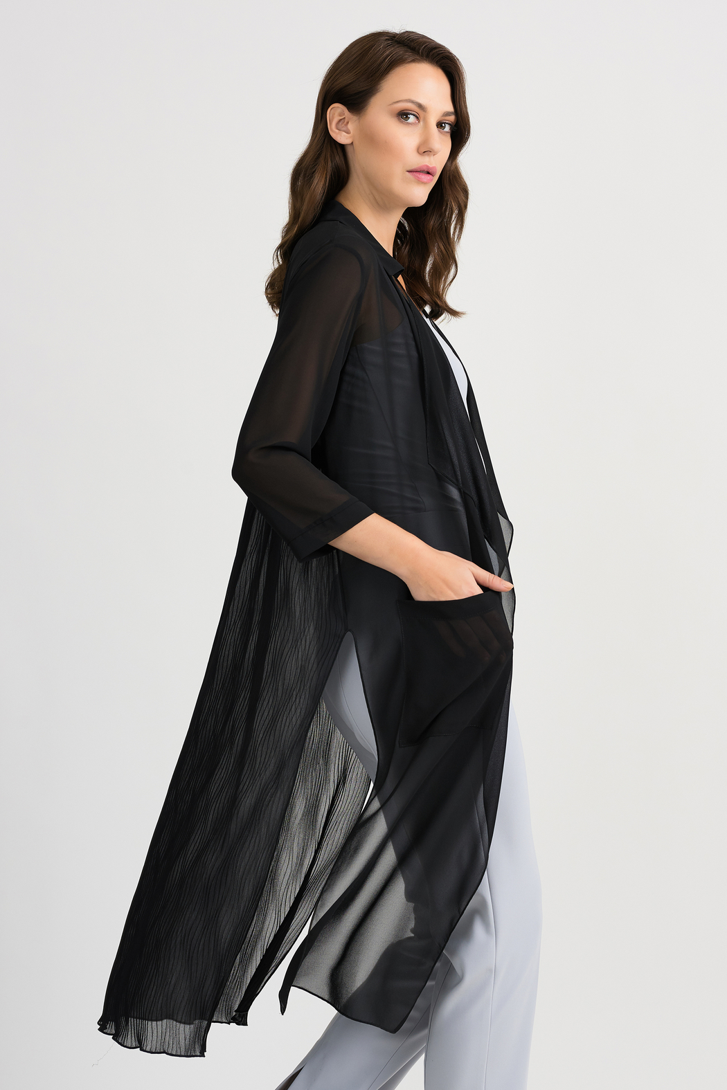 Joseph Ribkoff Sheer Duster Cover-Up, Black - Front Cropped Image