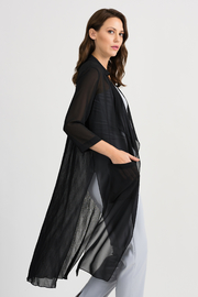 Joseph Ribkoff Sheer Duster Cover-Up, Black - Front cropped