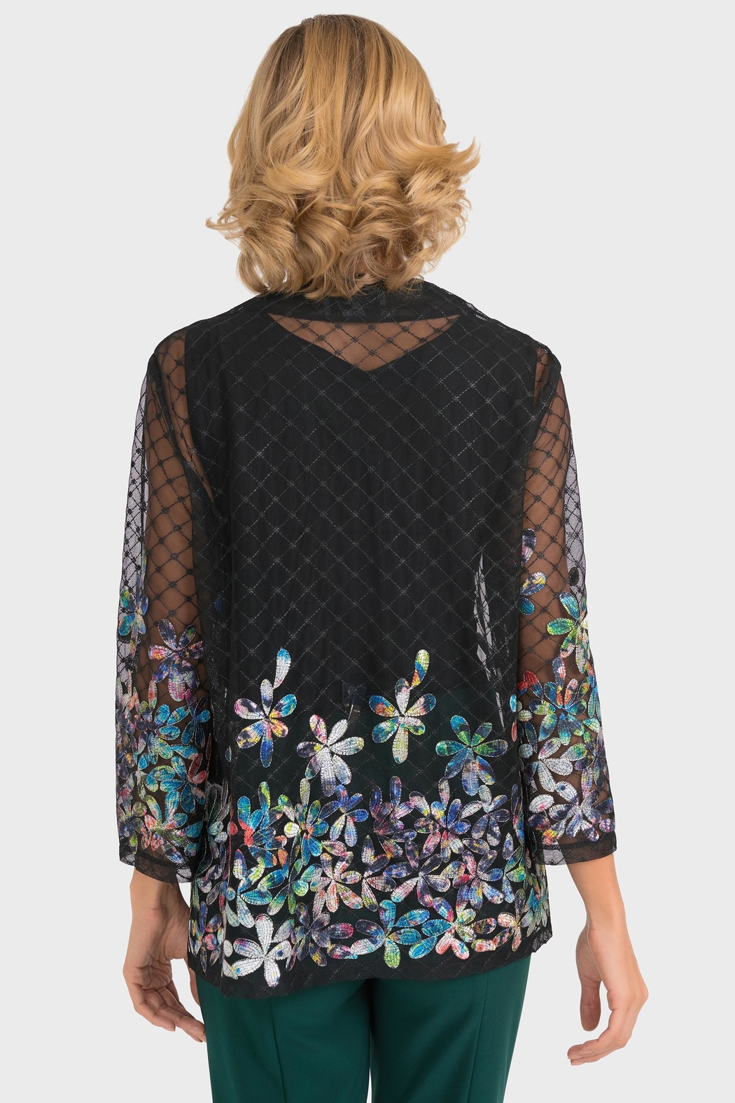 Joseph Ribkoff Sheer Embroidered Jacket - Side Cropped Image