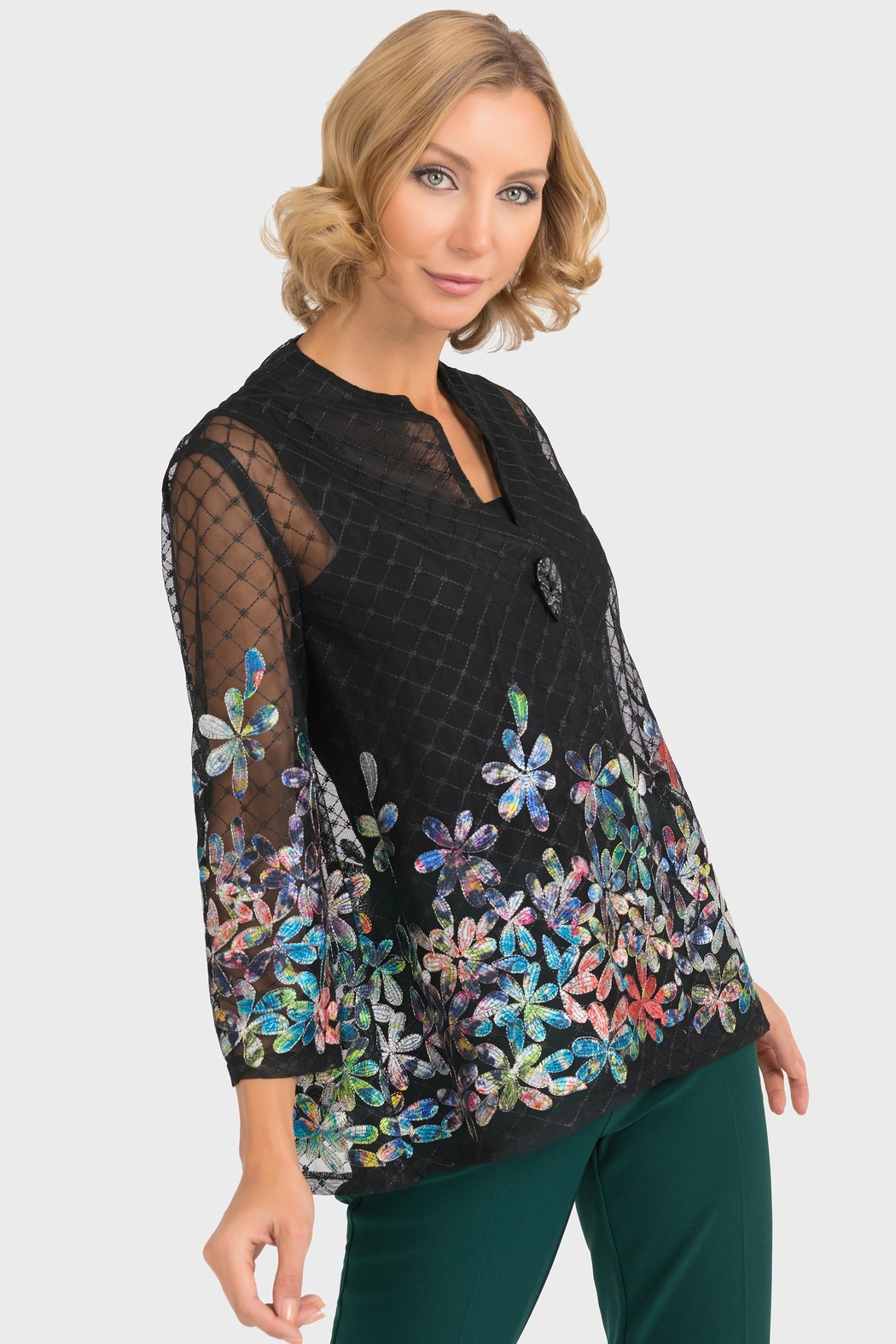 Joseph Ribkoff Sheer Embroidered Jacket - Front Cropped Image