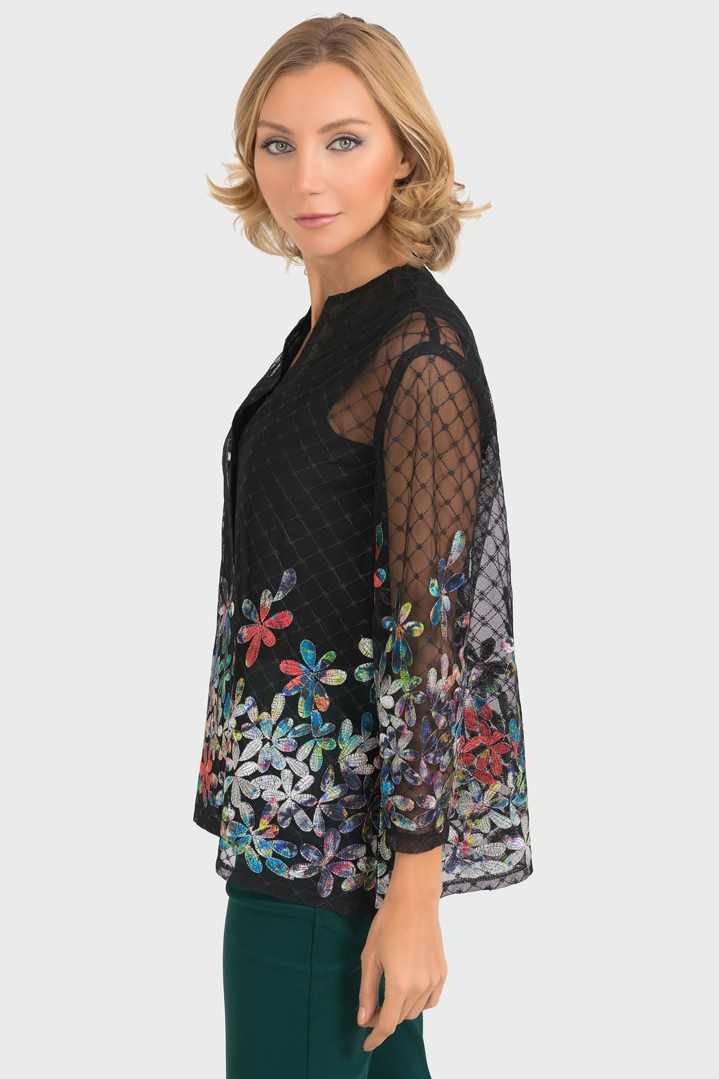 Joseph Ribkoff Sheer Embroidered Jacket - Front Full Image