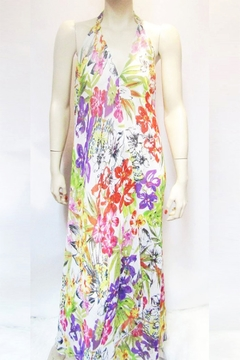 Shoptiques Product: SHEER FLORAL HALTER DRESS