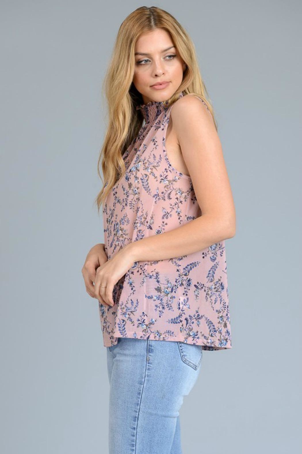 Le Lis Sheer Floral Top - Side Cropped Image