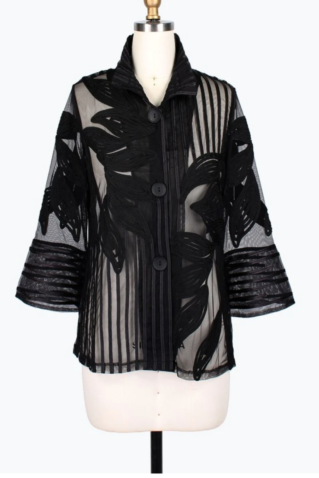 Damee LEAF & STRIPE SOUTACHE JKT - Front Cropped Image