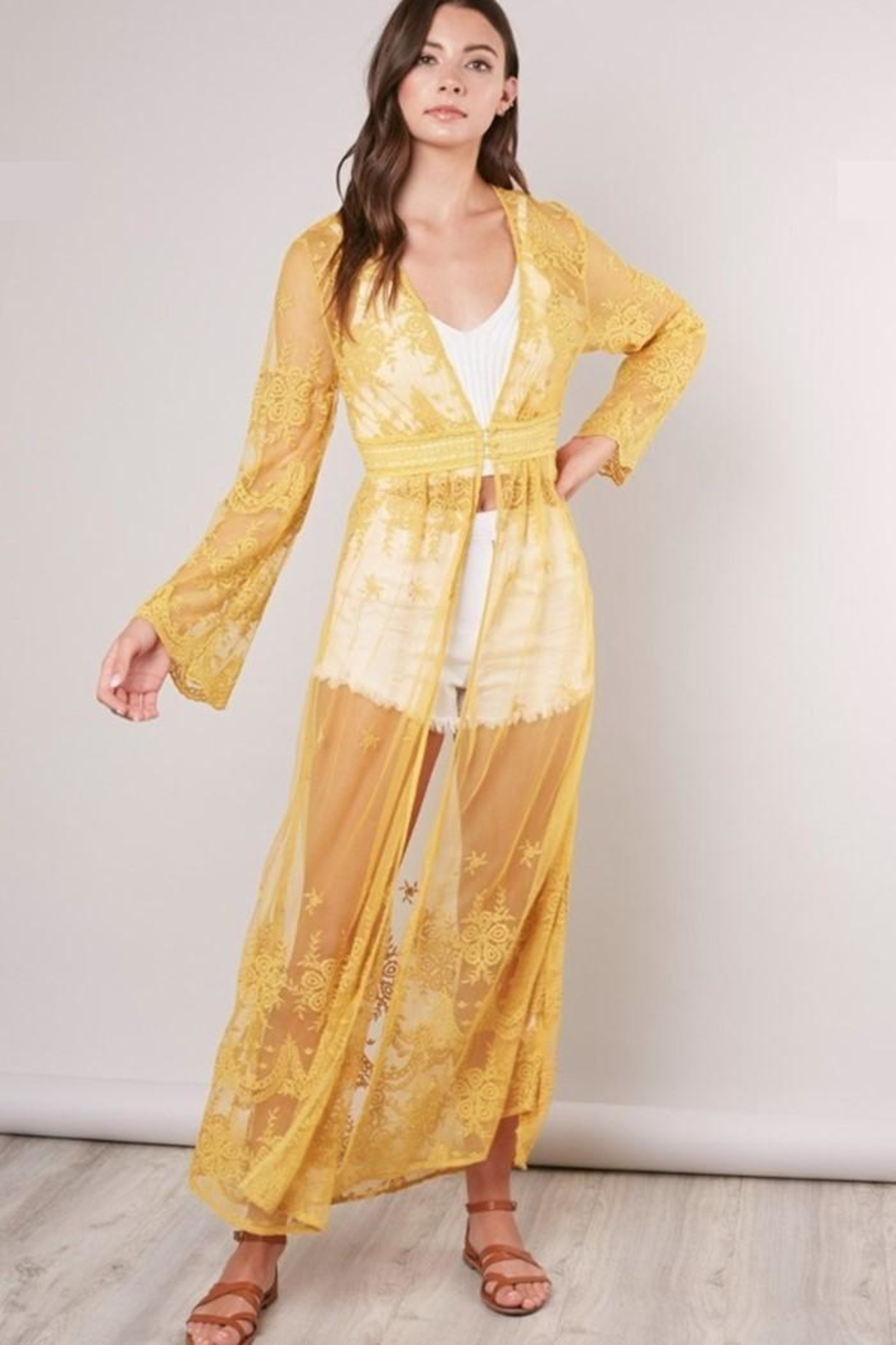 Mustard Seed Sheer Kaftan Cover-Up - Front Cropped Image
