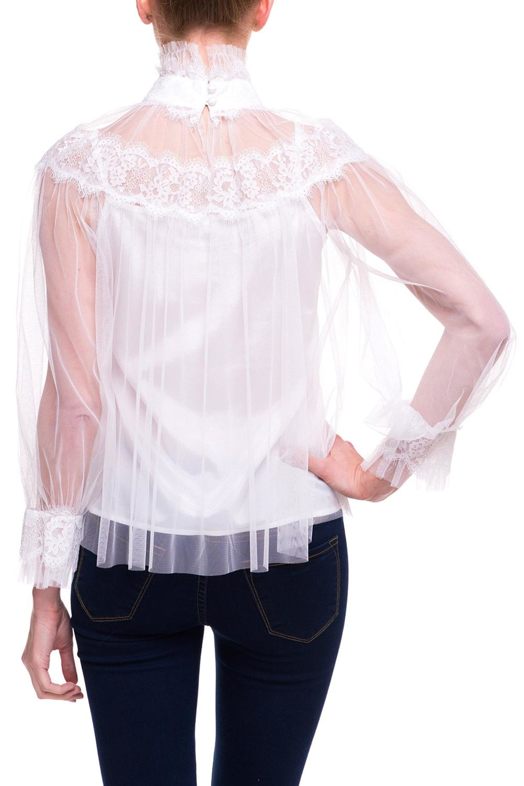 On Twelfth Sheer Lace Blouse - Side Cropped Image