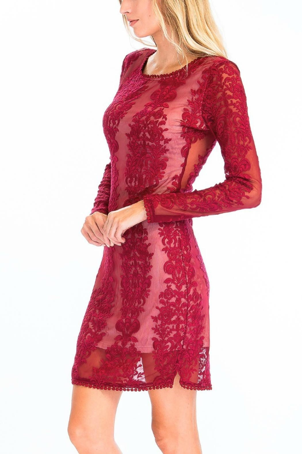 Olivaceous Sheer Lace Bodycon - Side Cropped Image