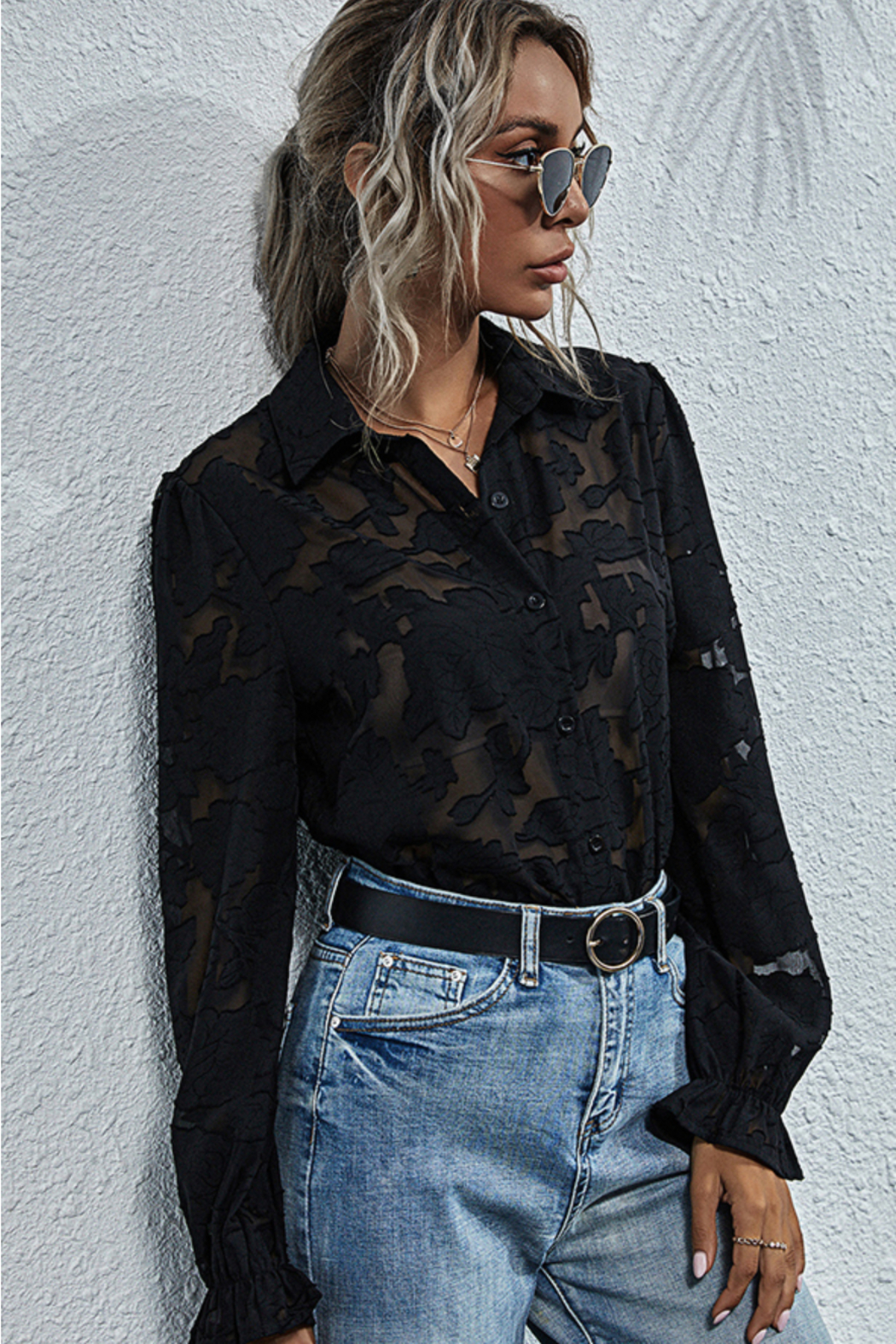 Esley Collection Sheer Lace Button Down Blouse - Front Cropped Image