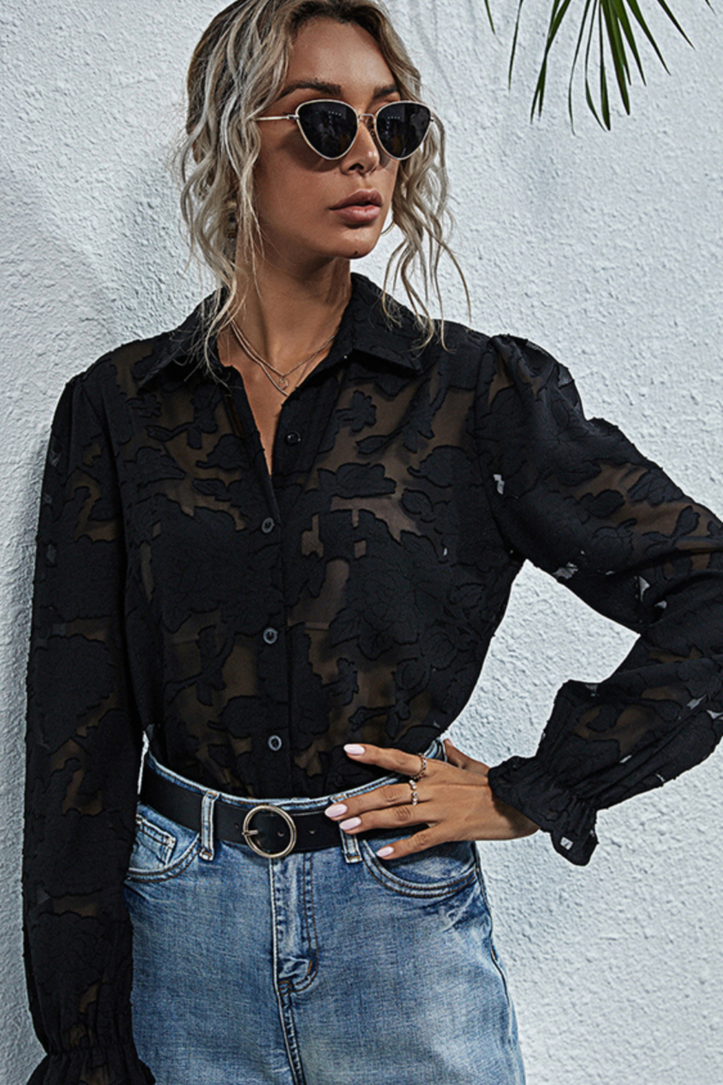 Esley Collection Sheer Lace Button Down Blouse - Main Image