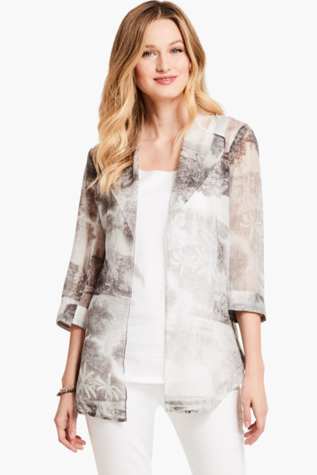 Nic + Zoe Sheer, lightweight Toile Memory Cardigan, 3/4 sleeves. - Front Cropped Image