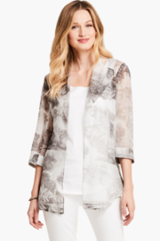 Nic + Zoe Sheer, lightweight Toile Memory Cardigan, 3/4 sleeves. - Front cropped
