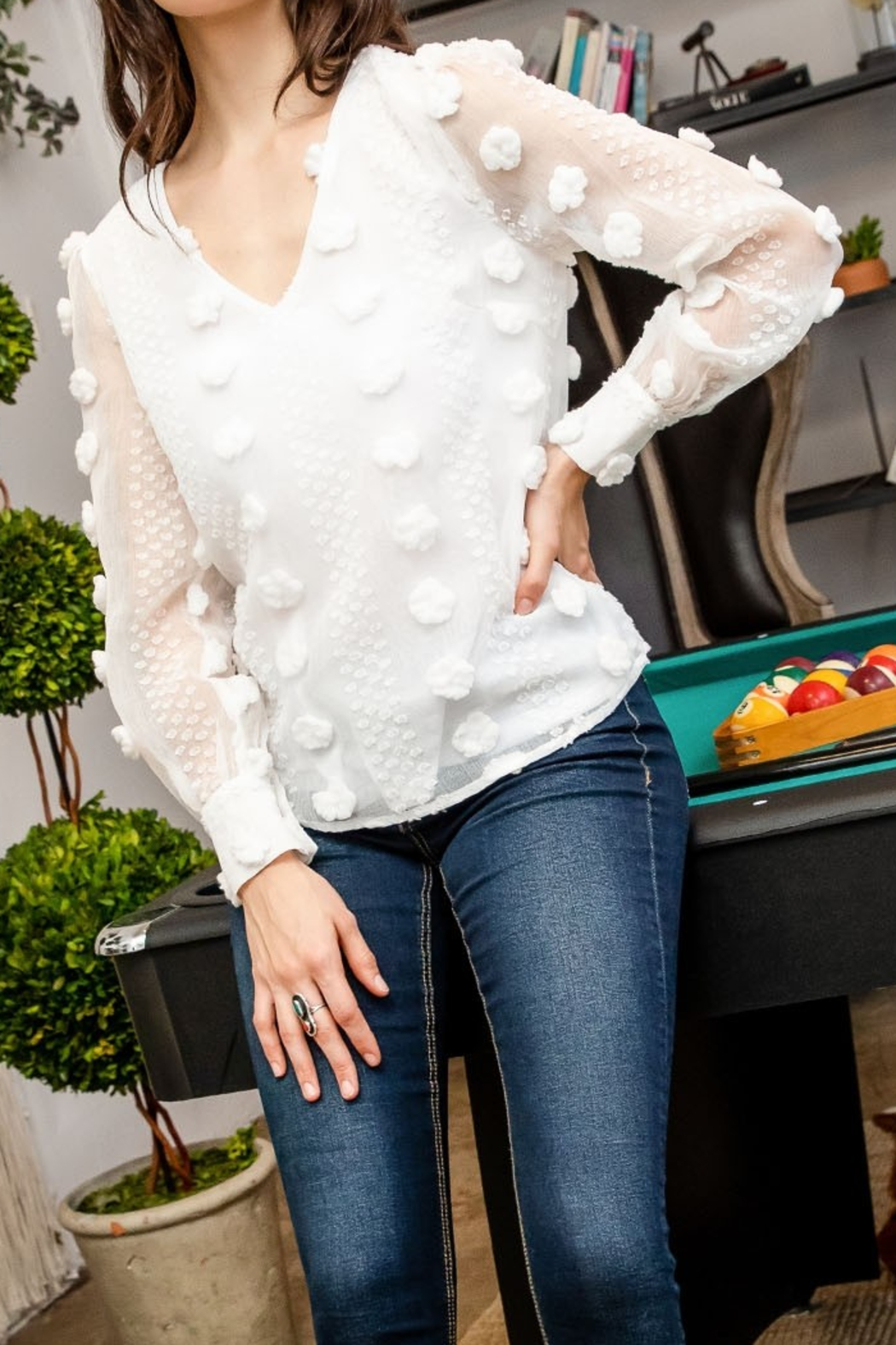 Thml Sheer Long Sleeve Top - Side Cropped Image