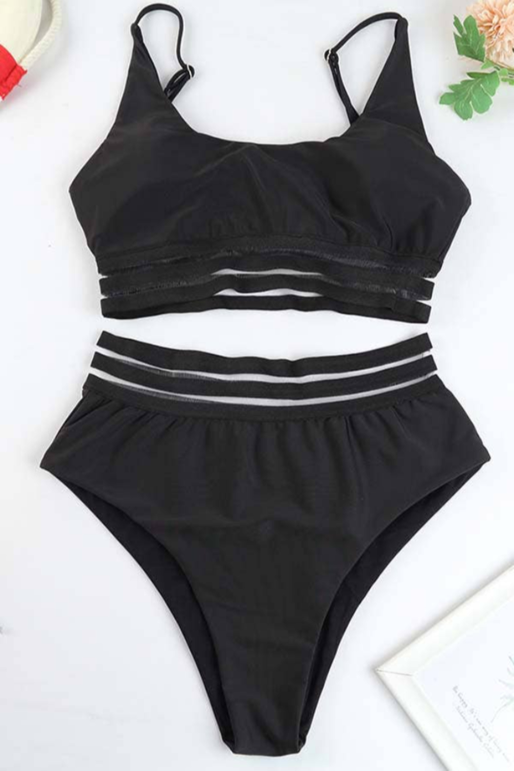C+D+M Sheer Mesh Stripes Two Piece Swimsuit - Front Full Image