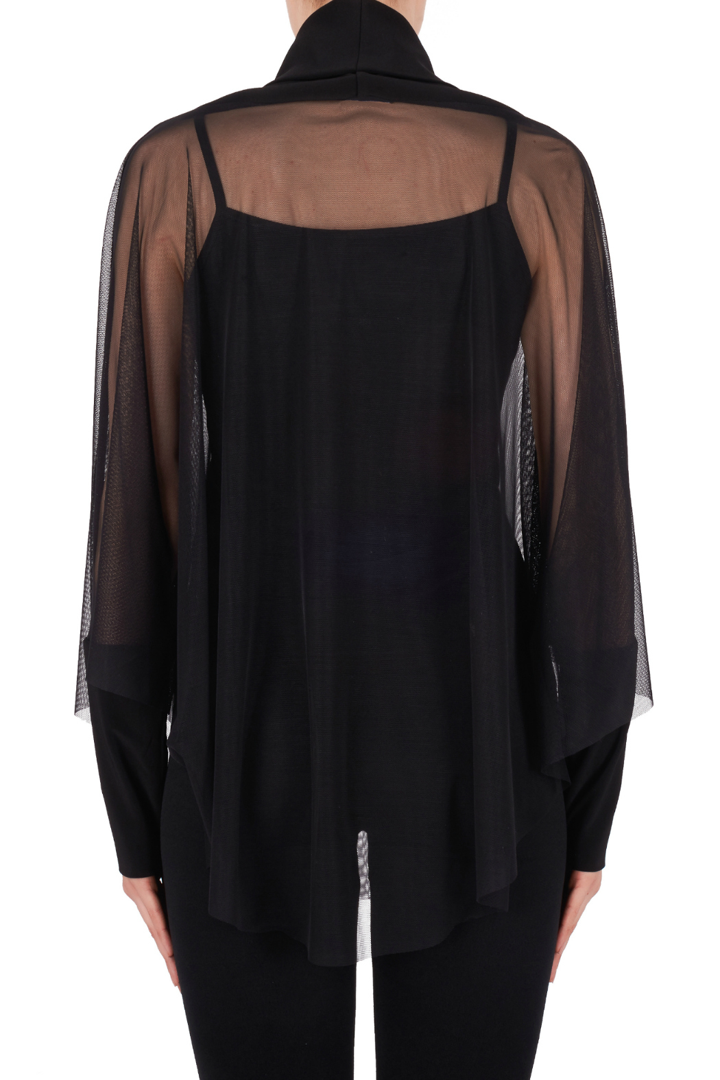 Joseph Ribkoff USA Inc. Sheer Mock-neck Batwing w Cami underlay - Back Cropped Image