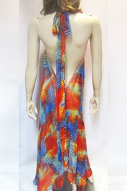 Indian Tropical SHEER ORANGE ABSTRACT HALTER DRESS - Side cropped