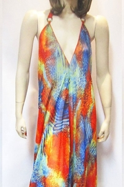 Indian Tropical SHEER ORANGE ABSTRACT HALTER DRESS - Front full body
