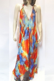 Indian Tropical SHEER ORANGE ABSTRACT HALTER DRESS - Product Mini Image