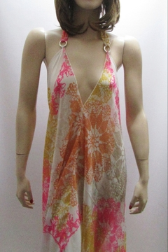 Shoptiques Product: SHEER PINK PRINT HALTER DRESS