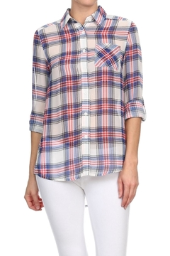 Blvd Sheer Plaid Blouse - Product List Image