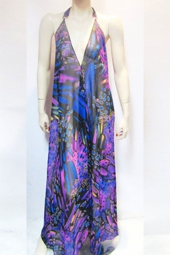 Shoptiques Product: SHEER PURPLE PRINT HALTER DRESS