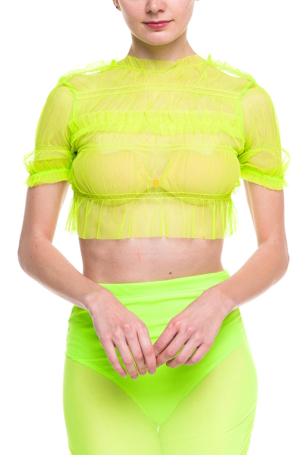 Rehab Sheer-Ruffle Crop Top - Front Cropped Image