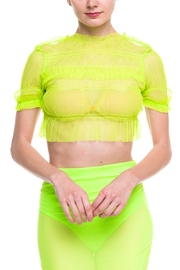 Rehab Sheer-Ruffle Crop Top - Front cropped