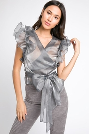 A Peach Sheer Ruffle Top - Product Mini Image