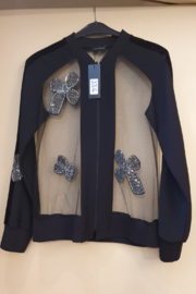 Bianco Nero Sheer  Sequin Velour Jacket - Front cropped