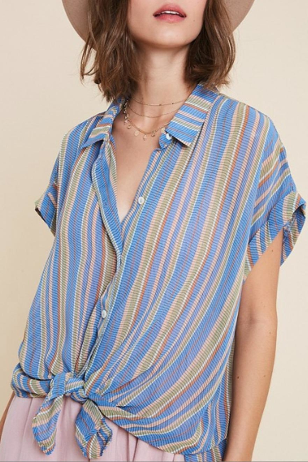 Wishlist Sheer Striped Button-Down - Front Full Image