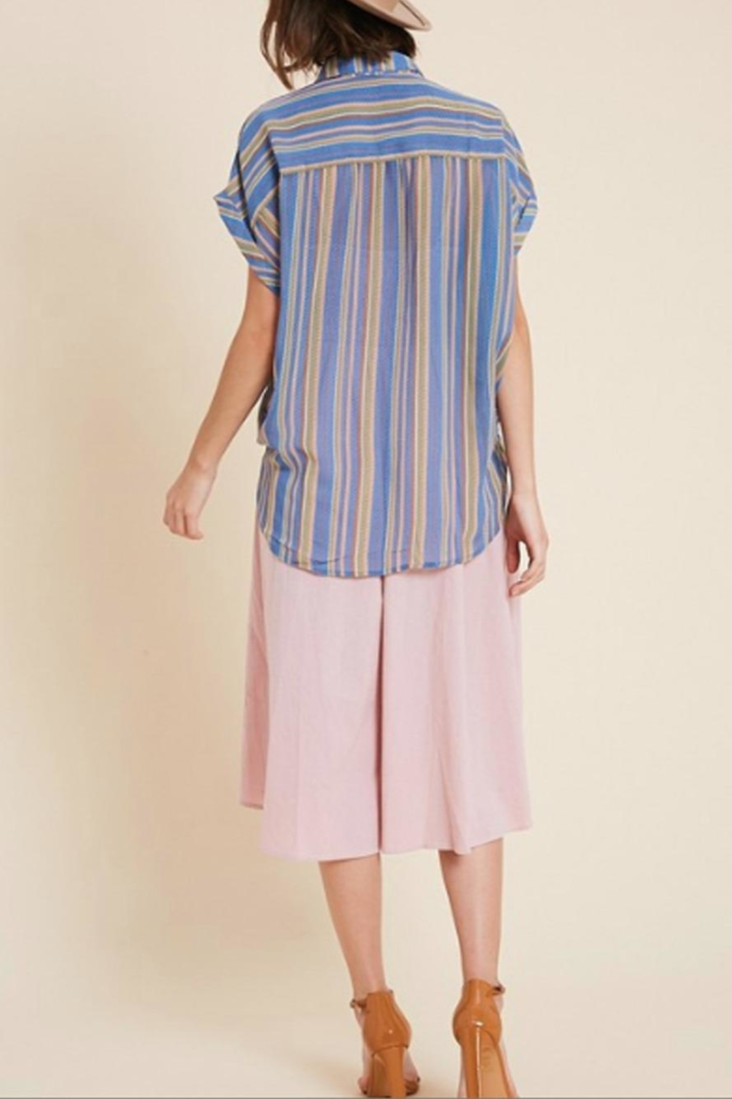 Wishlist Sheer Striped Button-Down - Side Cropped Image