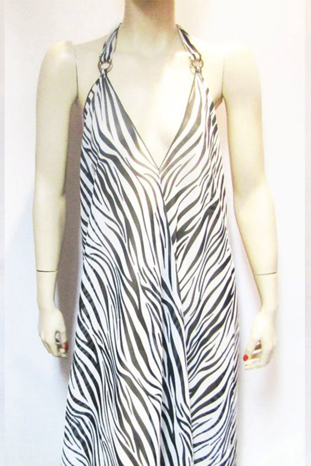 Indian Tropical SHEER ZEBRA HALTER DRESS - Main Image