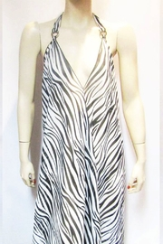 Indian Tropical SHEER ZEBRA HALTER DRESS - Front cropped