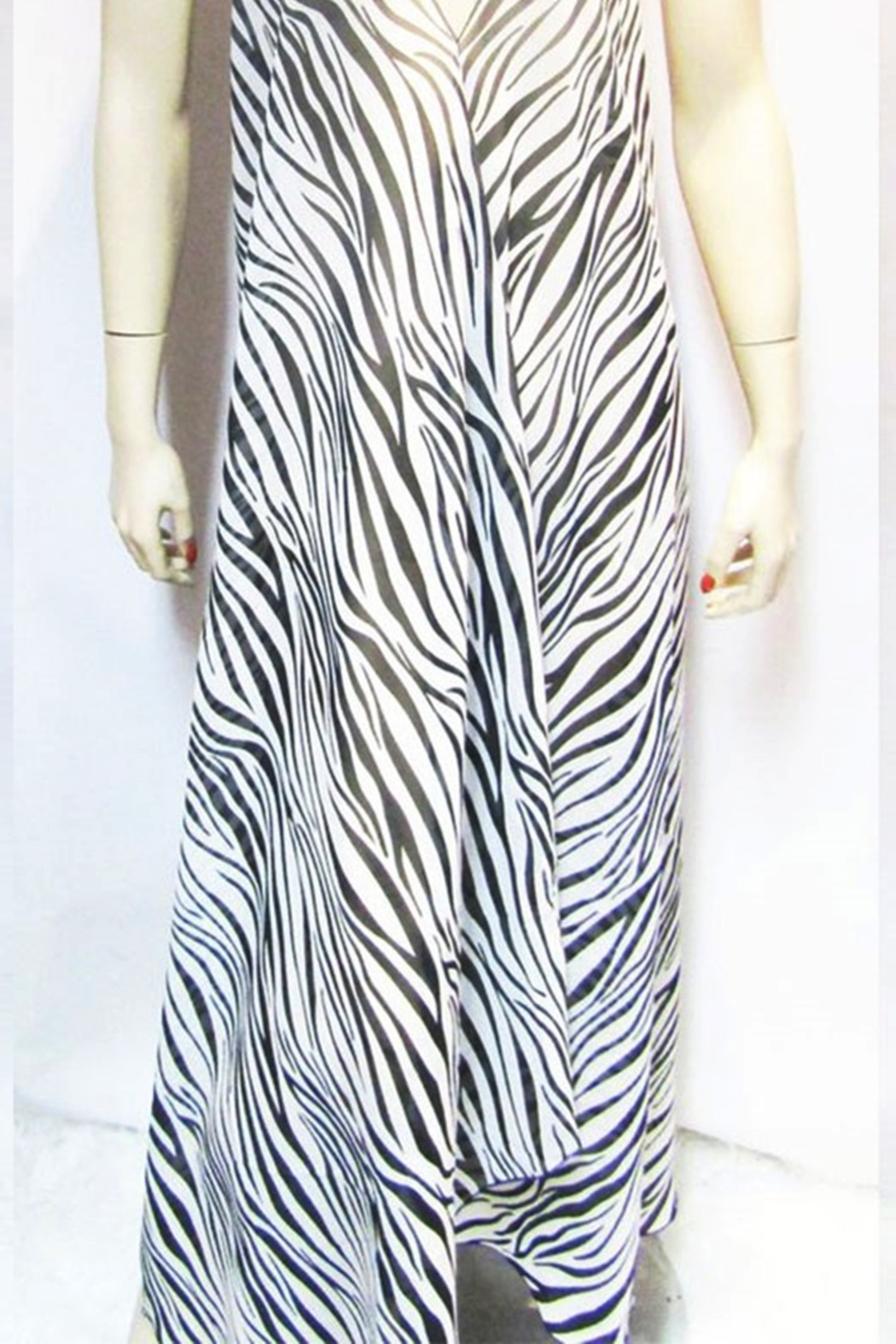 Indian Tropical SHEER ZEBRA HALTER DRESS - Front Full Image