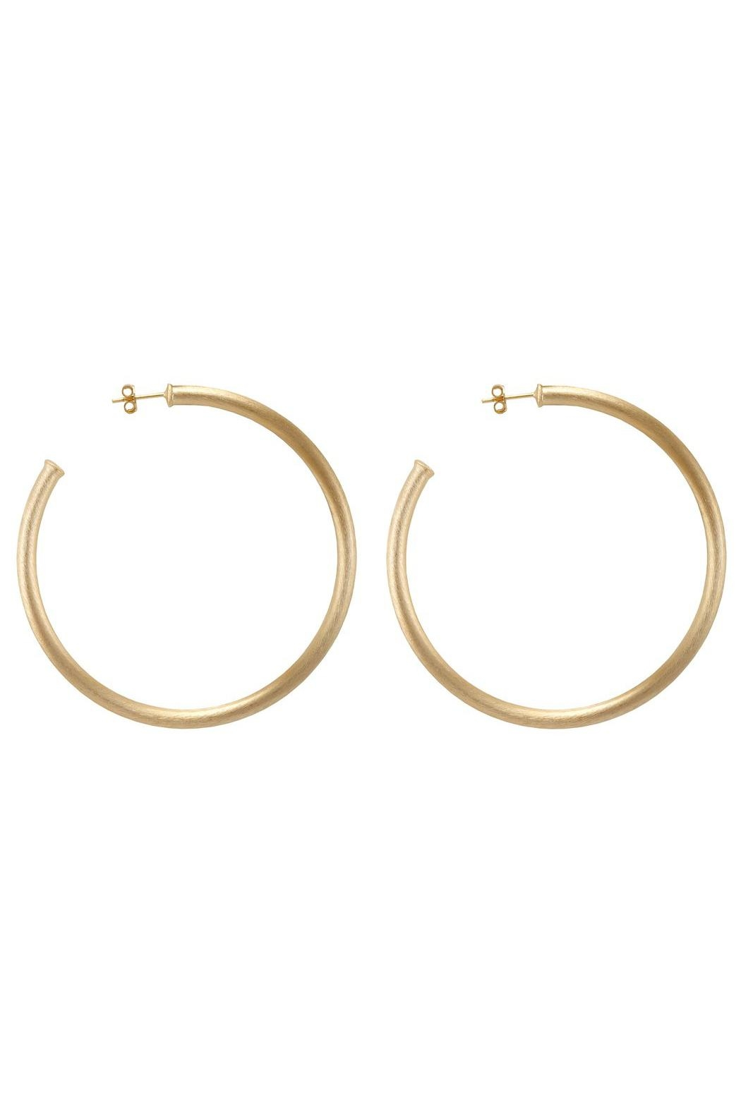 Sheila Fajl Brushed Gold Hoops - Front Cropped Image