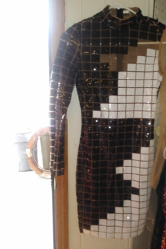 Shein Black and White Sequin Party Dress - Product List Image