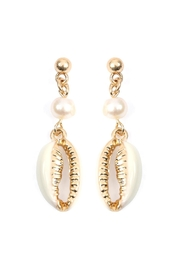 Riah Fashion Shell With Pearl-Post-Earrings - Product Mini Image