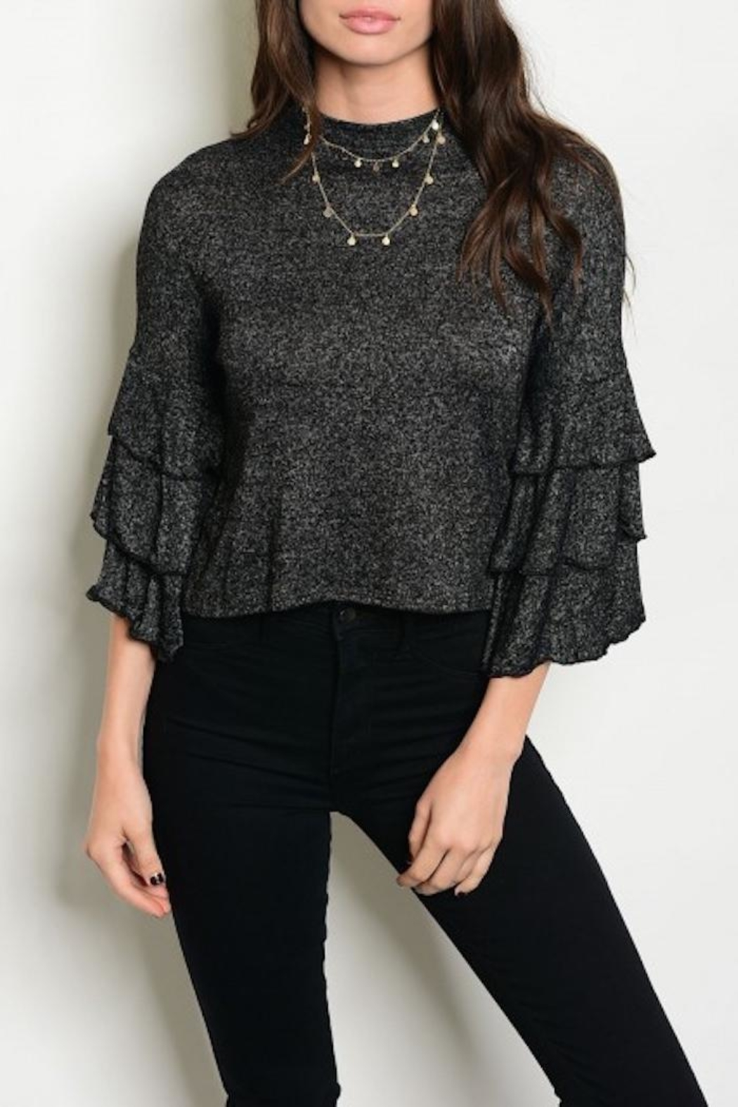 Shellys Ruffle Sleeve Top - Front Cropped Image