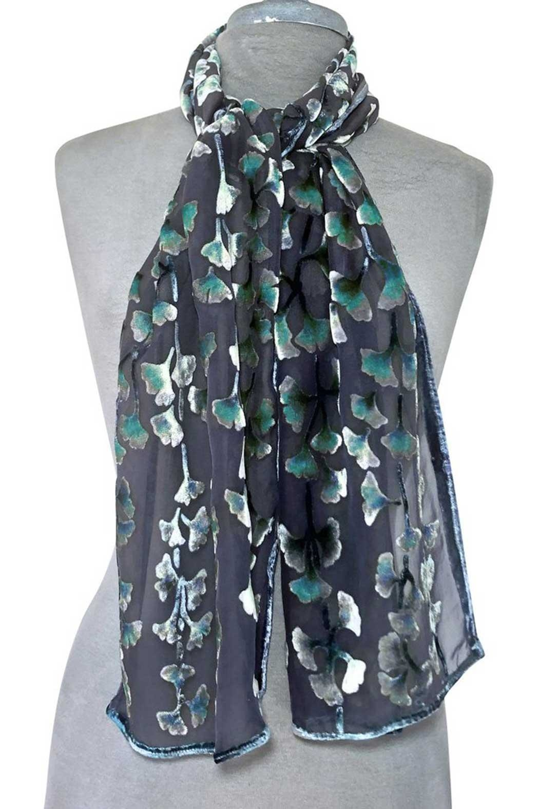 Sherit Levin Textiles Black Gingko Scarf - Front Cropped Image